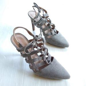 FRANCO SARTO Avalon gray lace-up caged heels